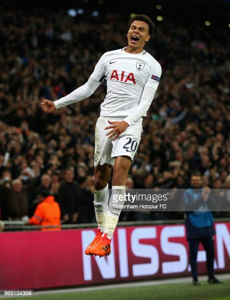 Dele Alli of Tottenham Hotspur celebrates scoring his side's second goal during the UEFA Champions League group H match between Tottenham Hotspur and...