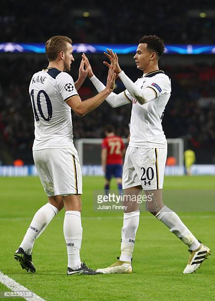 Dele Alli of Tottenham Hotspur celebrates scoring his sides third goal with Harry Kane of Tottenham Hotspur during the UEFA Champions League Group E...