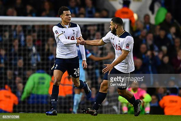 Dele Alli of Tottenham Hotspur celebrates scoring his side's third goal with his tam mate Cameron CarterVickers during the Emirates FA Cup Fourth...