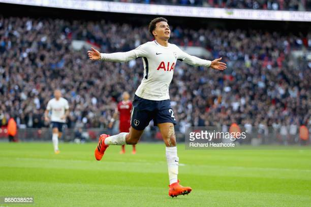 Dele Alli of Tottenham Hotspur celebrates scoring his sides third goal during the Premier League match between Tottenham Hotspur and Liverpool at...