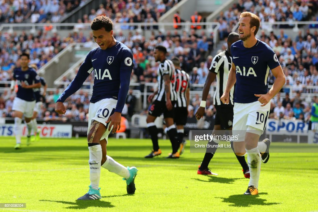 Dele Alli of Tottenham Hotspur celebrates scoring his team's first goal during the Premier League match between Newcastle United and Tottenham Hotspur at St. James' Park on August 13, 2017 in Newcastle upon Tyne, England.