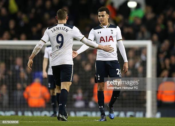 Dele Alli of Tottenham Hotspur celebrates scoring his team's third goal with his team mate Vincent Janssen during the Emirates FA Cup Fourth Round...