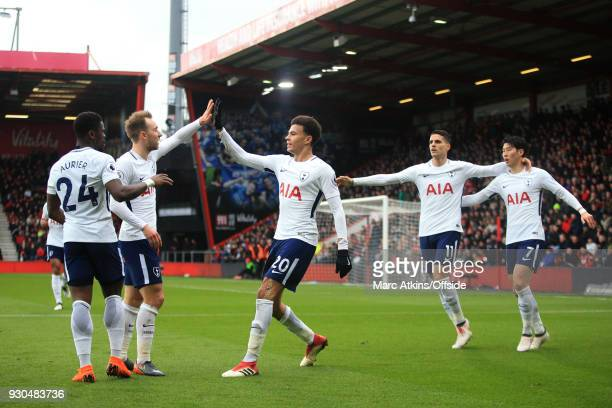 Dele Alli of Tottenham Hotspur celebrates scoring their 1st goal during the Premier League match between AFC Bournemouth and Tottenham Hotspur at...