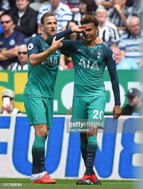 Dele Alli of Tottenham Hotspur celebrates scoring their second goal with Harry Kane of Tottenham Hotspur during the Premier League match between...