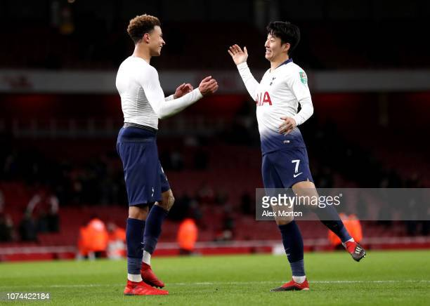 Dele Alli of Tottenham Hotspur celebrates with HeungMin Son of Tottenham Hotspur after the Carabao Cup Quarter Final match between Arsenal and...
