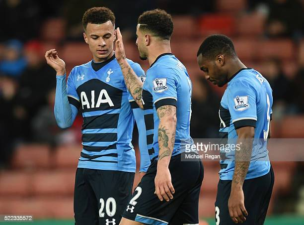 Dele Alli of Tottenham Hotspur celebrates with Kyle Walker and Danny Rose as he scores their fourth goal and his second during the Barclays Premier...