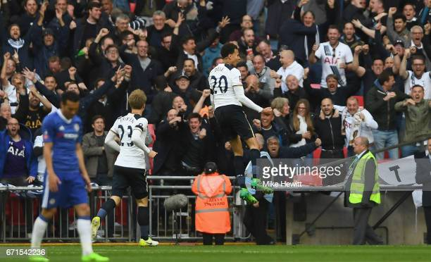 Dele Alli of Tottenham Hotspur celebrates with team mates after he scores his sides second goal during The Emirates FA Cup SemiFinal between Chelsea...
