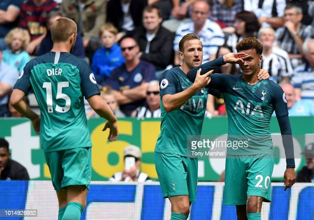 Dele Alli of Tottenham Hotspur celebrates with teammate Harry Kane after scoring his team's second goal during the Premier League match between...