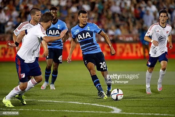 Dele Alli of Tottenham Hotspur controls the ball against the MLS AllStars during the 2015 ATT Major League Soccer AllStar game at Dick's Sporting...