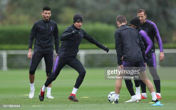 Dele Alli of Tottenham Hotspur during the Tottenham Hotspur training session at Tottenham Hotspur Training Centre on August 16 2018 in Enfield England