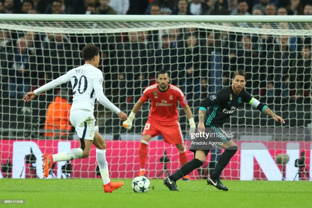 Dele Alli (L) of Tottenham Hotspur FC in action during the UEFA Champions League Group H soccer match between Tottenham Hotspur FC and Real Madrid at Wembley Stadium in London, United Kingdom on November 01, 2017.