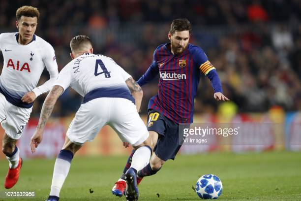 Dele Alli of Tottenham Hotspur FC Toby Alderweireld of Tottenham Hotspur FC Lionel Messi of FC Barcelona during the UEFA Champions League group B...