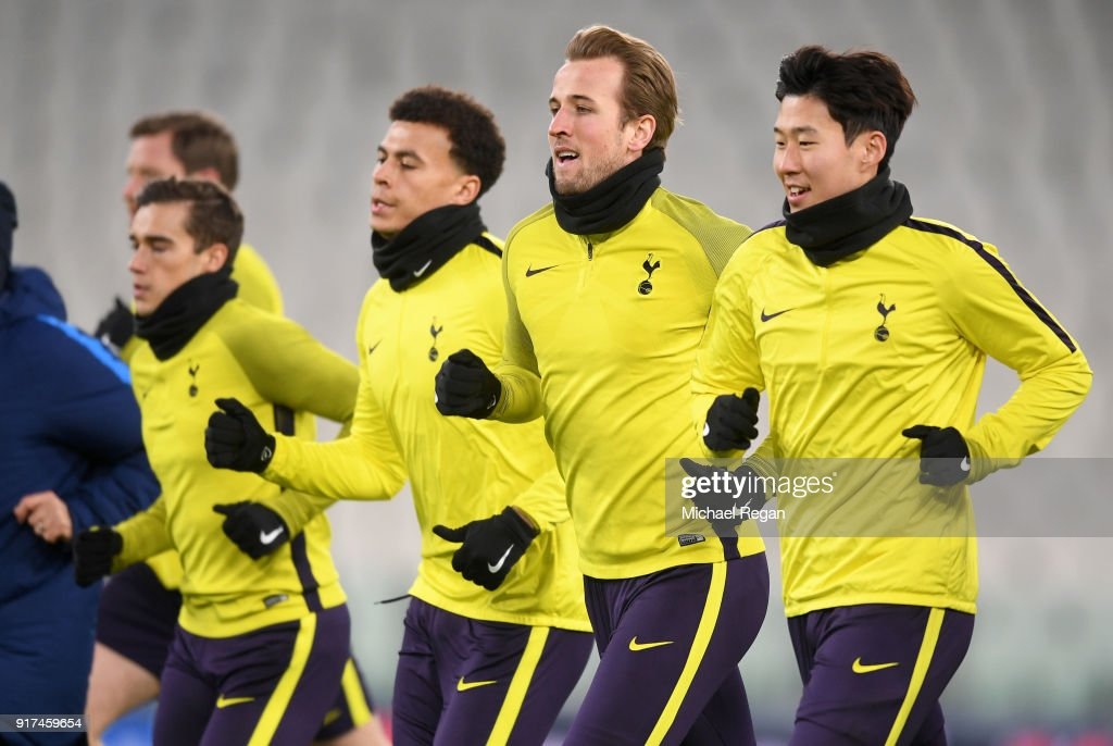 Dele Alli of Tottenham Hotspur, Harry Kane of Tottenham Hotspur and Heung-Min Son of Tottenham Hotspur train during the Tottenham Hotspur FC Training Session ahead of there UEFA Champions League Round of 16 match against Juventus at Allianz Stadium on February 12, 2018 in Turin, Italy.