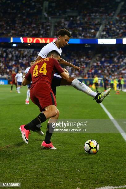 Dele Alli of Tottenham Hotspur in action against Konstantinos Manolas of Roma during the International Champions Cup 2017 at Red Bull Arena on July...
