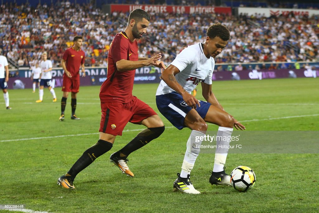 Dele Alli #20 of Tottenham Hotspur in action against Roma during the International Champions Cup 2017 at Red Bull Arena on July 25, 2017 in Harrison, New Jersey.