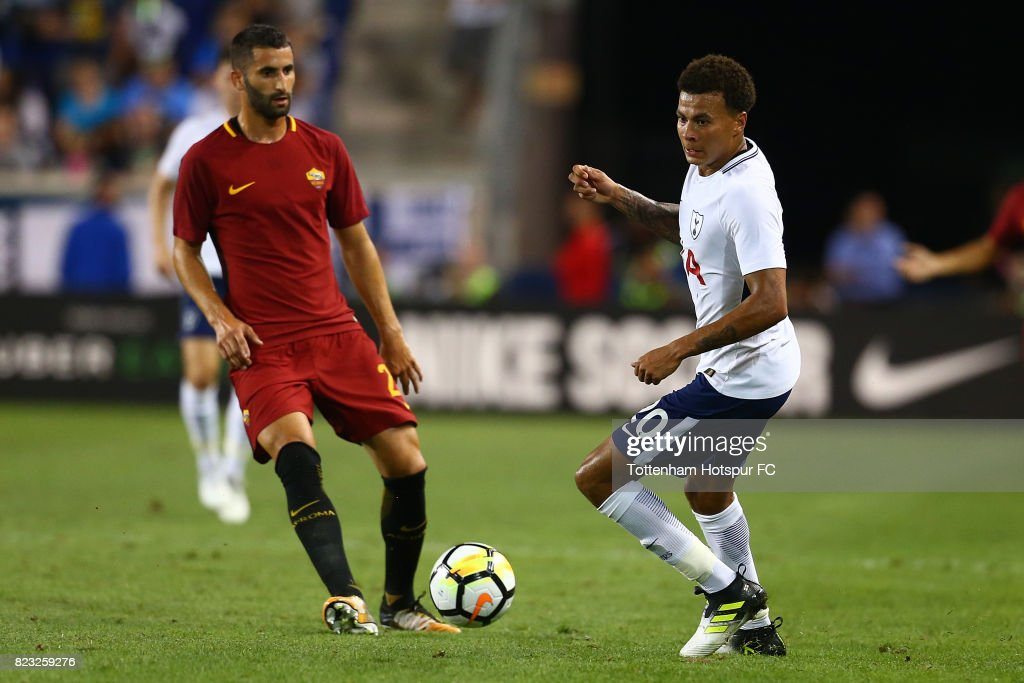 Dele Alli #20 of Tottenham Hotspur in action against the Roma during the International Champions Cup 2017 at Red Bull Arena on July 25, 2017 in Harrison, New Jersey.