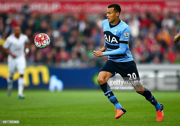 Dele Alli of Tottenham Hotspur in action during the Barclays Premier League match between Swansea City and Tottenham Hotspur at Liberty Stadium on...
