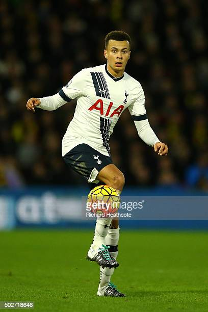 Dele Alli of Tottenham Hotspur in action during the Barclays Premier League match between Watford and Tottenham Hotspur at Vicarage Road on December...