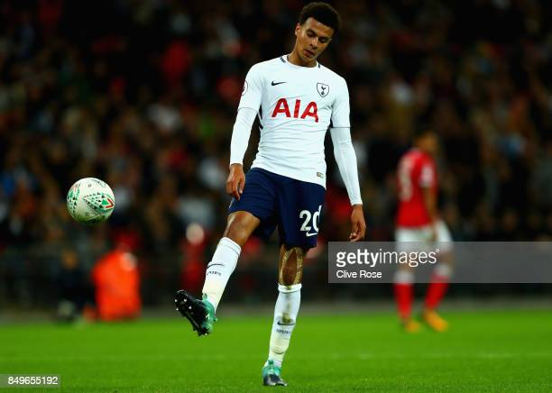 Dele Alli of Tottenham Hotspur in action during the Carabao Cup Third Round match between Tottenham Hotspur and Barnsley at Wembley Stadium on...