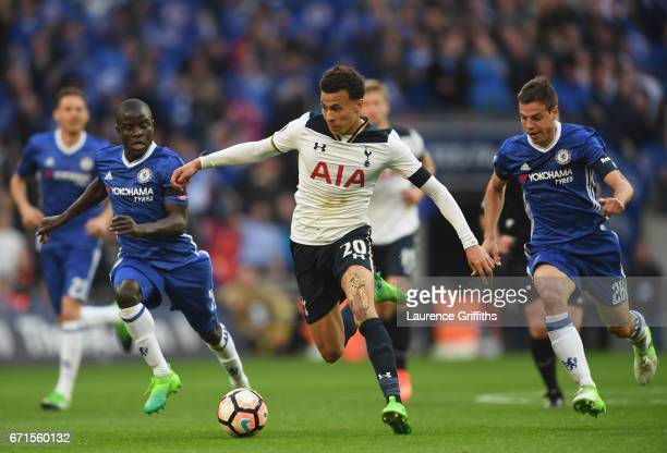 Dele Alli of Tottenham Hotspur in action during The Emirates FA Cup SemiFinal between Chelsea and Tottenham Hotspur at Wembley Stadium on April 22...
