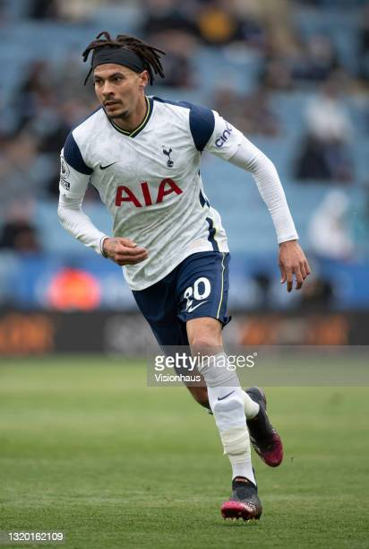 Dele Alli of Tottenham Hotspur in action during the Premier League match between Leicester City and Tottenham Hotspur at The King Power Stadium on...