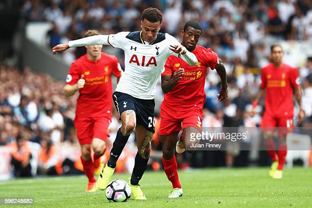 Dele Alli of Tottenham Hotspur in action during the Premier League match between Tottenham Hotspur and Liverpool at White Hart Lane on August 27 2016...