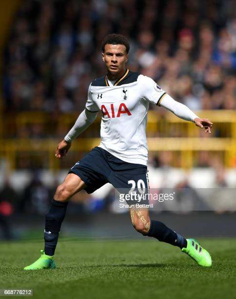 Dele Alli of Tottenham Hotspur in action during the Premier League match between Tottenham Hotspur and AFC Bournemouth at White Hart Lane on April 15...