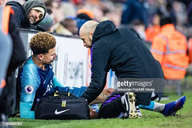 Dele Alli of Tottenham Hotspur injured during the Premier League match between Fulham FC and Tottenham Hotspur at Craven Cottage on January 20 2019...