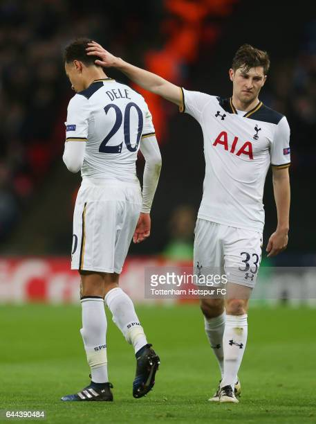 Dele Alli of Tottenham Hotspur is consoled by team mate Ben Davies as he is sent off during the UEFA Europa League Round of 32 second leg match...