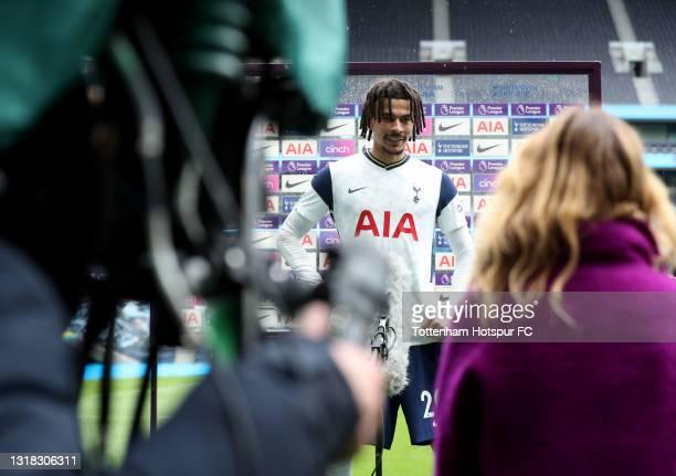 Dele Alli of Tottenham Hotspur is interviewed following the Premier League match between Tottenham Hotspur and Wolverhampton Wanderers at Tottenham...