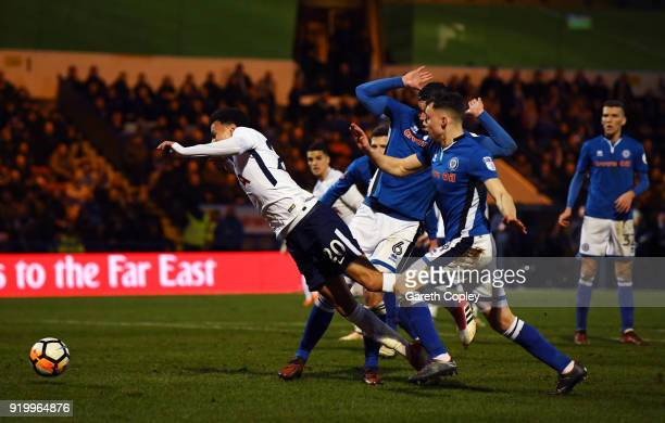 Dele Alli of Tottenham Hotspur is tripped for a penalty during The Emirates FA Cup Fifth Round match between Rochdale and Tottenham Hotspur on...