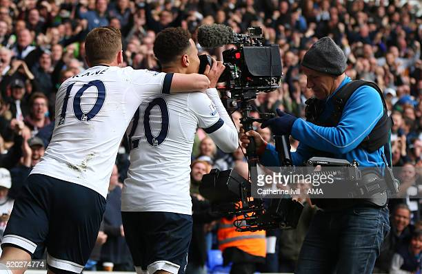 Dele Alli of Tottenham Hotspur kisses the Sky Sports steadicam tv camera as he celebrates scoring to make it 10 during the Barclays Premier League...