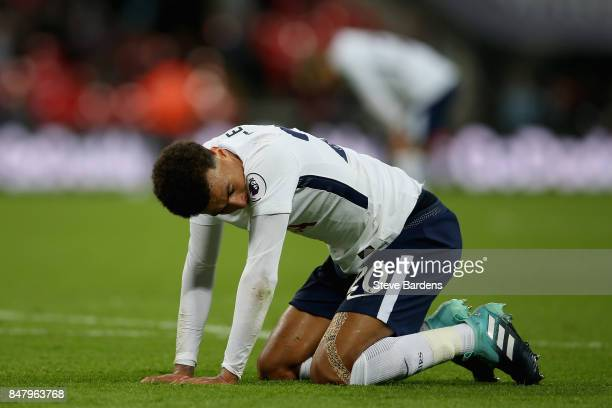 Dele Alli of Tottenham Hotspur looks dejected after the Premier League match between Tottenham Hotspur and Swansea City at Wembley Stadium on...