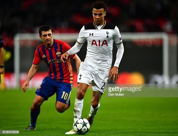 Dele Alli of Tottenham Hotspur on the ball during the UEFA Champions League Group E match between Tottenham Hotspur FC and PFC CSKA Moskva at Wembley...