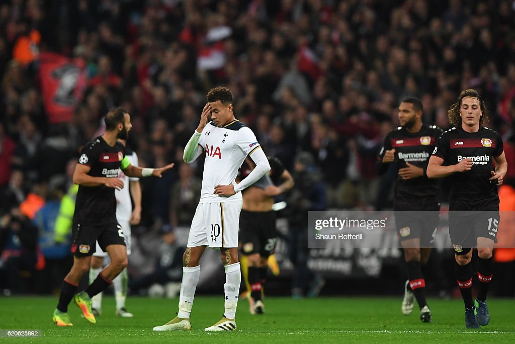 Dele Alli of Tottenham Hotspur reacts after Bayer Leverkusen score their first goal during the UEFA Champions League Group E match between Tottenham Hotspur FC and Bayer 04 Leverkusen at Wembley Stadium on November 2, 2016 in London, England.