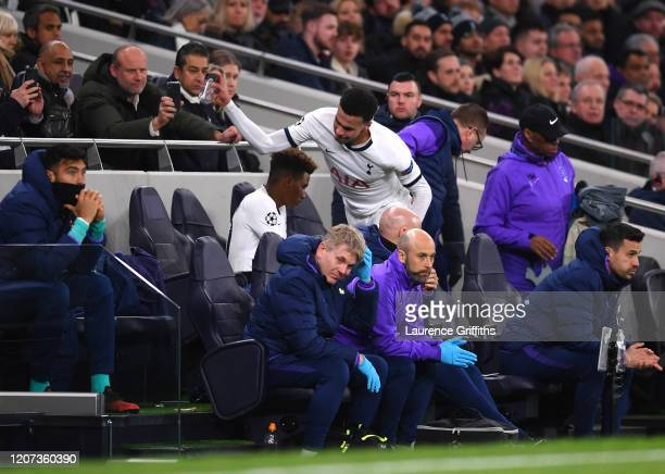 Dele Alli of Tottenham Hotspur reacts after being substituted during the UEFA Champions League round of 16 first leg match between Tottenham Hotspur...