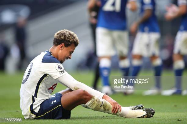 Dele Alli of Tottenham Hotspur reacts during the Premier League match between Tottenham Hotspur and Everton at Tottenham Hotspur Stadium on September...