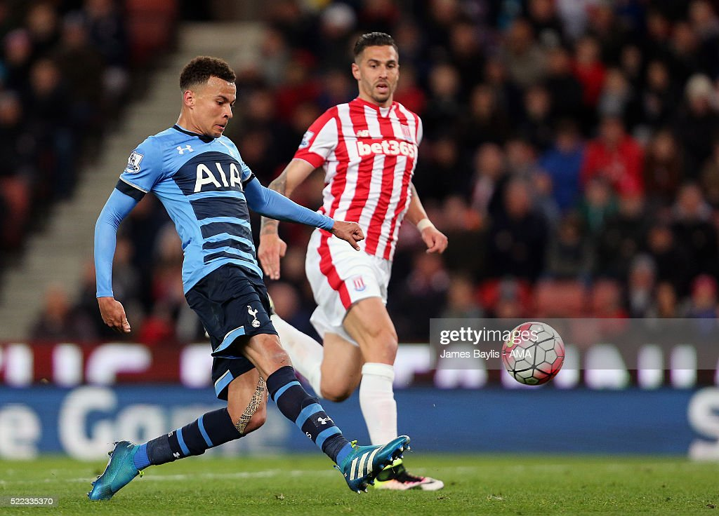 Dele Alli of Tottenham Hotspur scores a goal to make it 0-2 during the Barclays Premier League match between Stoke City and Tottenham Hotspur at Britannia Stadium on April 18, 2016 in Stoke on Trent, England