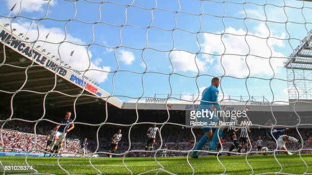 Dele Alli of Tottenham Hotspur scores a goal to make it 02 during the Premier League match between Newcastle United and Tottenham Hotspur at St James...
