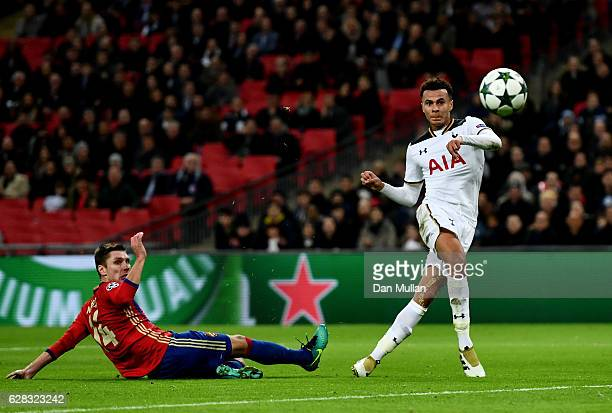 Dele Alli of Tottenham Hotspur scores his sides first goal during the UEFA Champions League Group E match between Tottenham Hotspur FC and PFC CSKA...