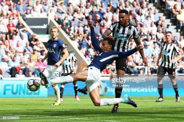 Dele Alli of Tottenham Hotspur scores his sides first goal during the Premier League match between Newcastle United and Tottenham Hotspur at St James...