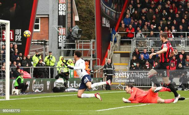 Dele Alli of Tottenham Hotspur scores his sides first goal during the Premier League match between AFC Bournemouth and Tottenham Hotspur at Vitality...