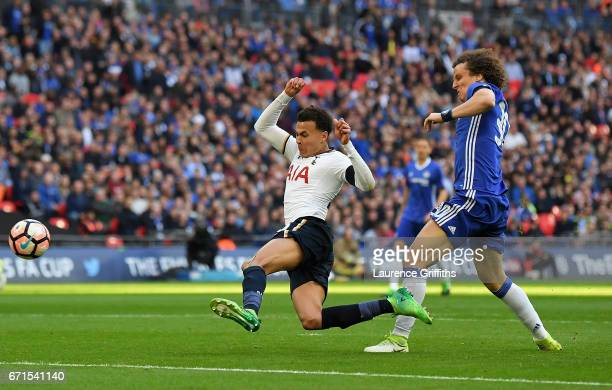 Dele Alli of Tottenham Hotspur scores his sides second goal during The Emirates FA Cup SemiFinal between Chelsea and Tottenham Hotspur at Wembley...