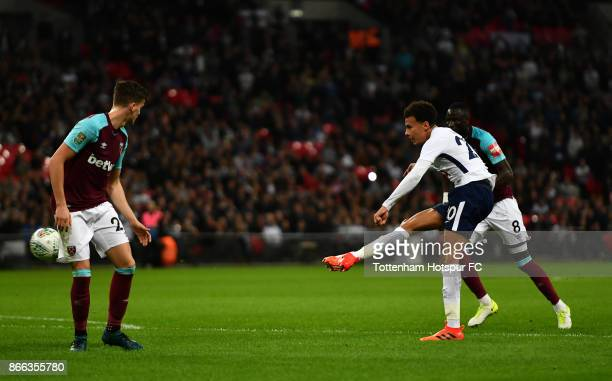 Dele Alli of Tottenham Hotspur scores his side's second goal during the Carabao Cup Fourth Round match between Tottenham Hotspur and West Ham United...