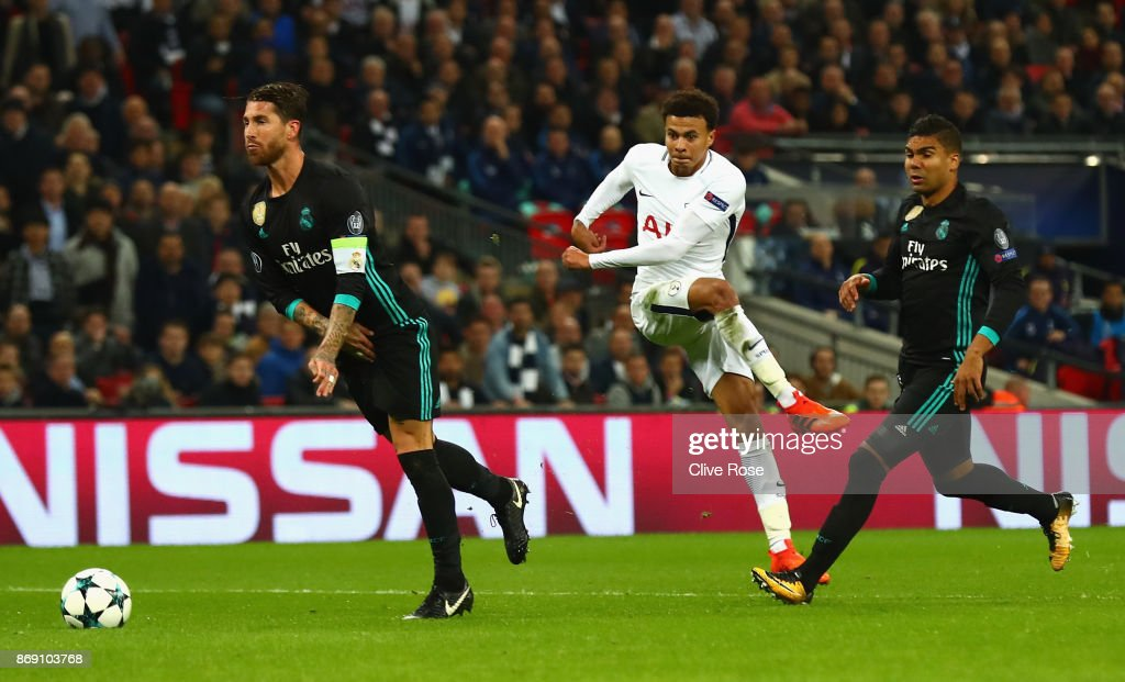 Dele Alli of Tottenham Hotspur scores his side's second goal during the UEFA Champions League group H match between Tottenham Hotspur and Real Madrid at Wembley Stadium on November 1, 2017 in London, United Kingdom.