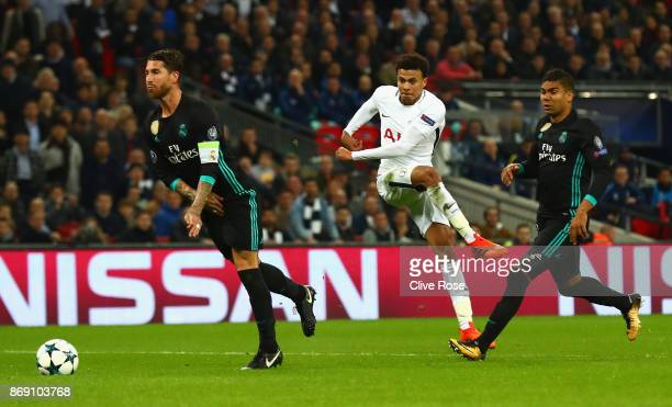 Dele Alli of Tottenham Hotspur scores his side's second goal during the UEFA Champions League group H match between Tottenham Hotspur and Real Madrid...