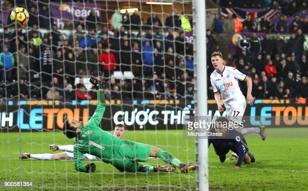 Dele Alli of Tottenham Hotspur scores his sides second goal during the Premier League match between Swansea City and Tottenham Hotspur at Liberty...