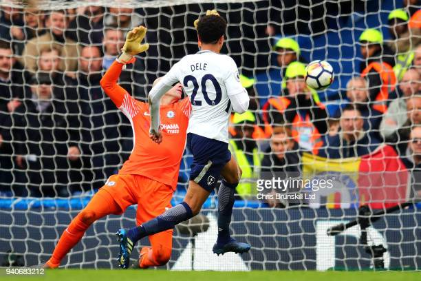 Dele Alli of Tottenham Hotspur scores his side's second goal during the Premier League match between Chelsea and Tottenham Hotspur at Stamford Bridge...