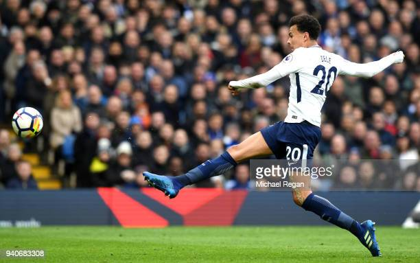 Dele Alli of Tottenham Hotspur scores his sides second goal during the Premier League match between Chelsea and Tottenham Hotspur at Stamford Bridge...
