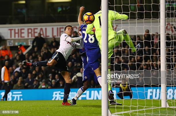 Dele Alli of Tottenham Hotspur scores his sides second goal with a header during the Premier League match between Tottenham Hotspur and Chelsea at...